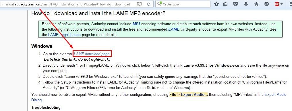 LAME ENCODER MP3 POUR AUDACITY